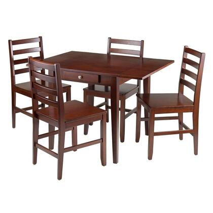 Winsome 94X6X Hamilton Drop Leaf Dining Table with Ladder Back Chairs in Walnut Finish