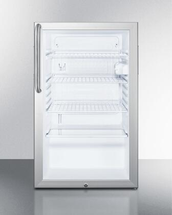 "Summit SCR450L7CSX 20"" Commercially Approved Compact Refrigerator with 4.1, Auto Defrost, Interior Light and Glass Door in Aluminum Frame"