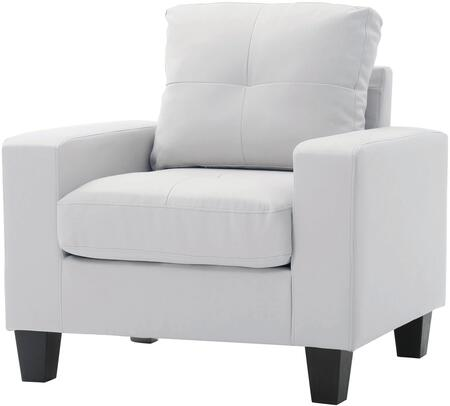"Glory Furniture Newbury Collection 35"" Club Chair with Tufted Cushions, Track Arms, Tapered Legs, Pocket Coil Spring Seat Cushions and Faux Leather Upholstery in"