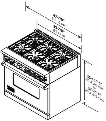"Viking VGR7486G 48"" Professional 7 Series Freestanding Range with 6 Sealed Burners and Griddle, SureSpark Ignition System and VariSimmer Setting, in"