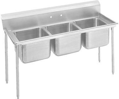 "Advance Tabco T9-3-54 Three-Compartment Regaline Dish Sink with 14"" Deep Bowl and 8"" Splash in Stainless Steel"