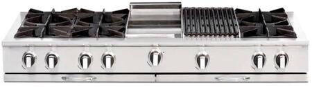"Capital Culinarian Series CGRT604BG2 60"" Restaurant Style X Range Top with 6 Open Burners, 12"" BBQ Grill, and 12"" Thermo-Griddle, in Stainless Steel"