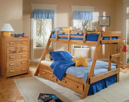 Chelsea Home Furniture 362650 Twin Over Full A-Frame Bunk Bed, with Pine Construction, Guard Rails, Rustic Style, and Stain Finished in Honey