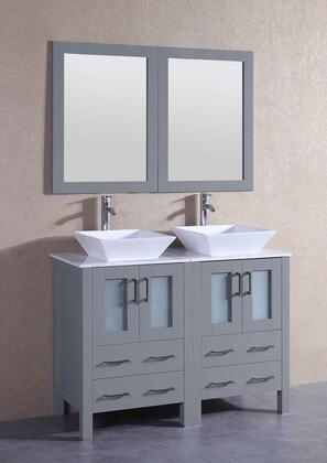 """Bosconi AGR224SQCMX XX"""" Double Vanity with Carrara Marble Top, Flared Square White Ceramic Vessel Sink, F-S02 Faucet, Mirror, 4 Doors and X Drawers in Grey"""