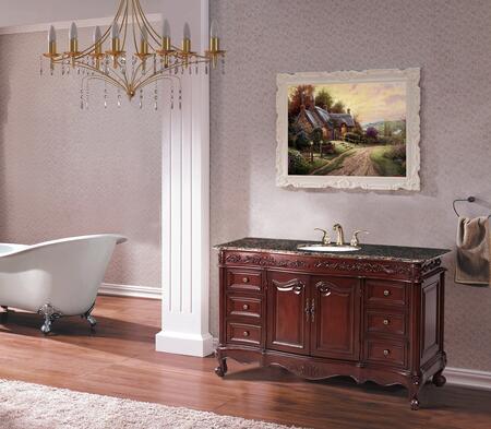 "Stufurhome GM-5110-56 56"" Princeton Single Sink Bathroom Vanity, with White Undermount Sink, Antique Style Knobs/Handles, and Storage"