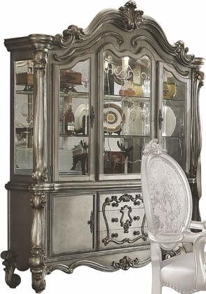 """Acme Furniture Versailles Collection 75"""" China Cabinet with 2 Glass Doors, 2 Wooden Doors, 2 Glass Shelves, 3 Drawers, Touch Light and Scrolled Legs"""