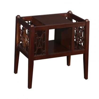 "Powell Layla Collection 22"" Magazine Table with Decorative Open Fretwork, Tapered Legs, Open Middle Shelf and Side Storage Space in"
