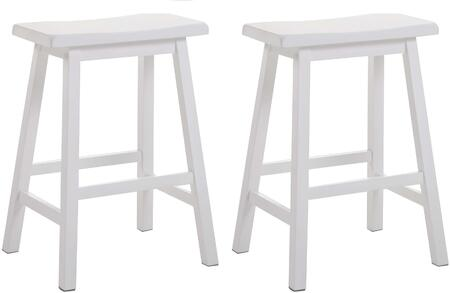 Acme Furniture Gaucho Collection Set of 2 Bar Stools with Backless Saddle Seat, Square Legs, Footrest Support and Solid Rubberwood Construction in White Finish