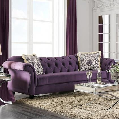 "Furniture of America Antoinette Collection SM222X-SF 96"" Sofa with Rolled Arms, Reverse Camelback Design and Deep Tufting in"