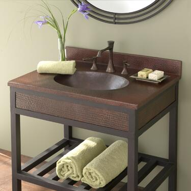 """Native Trails VNT30 30"""" Sedona Vanity Top with Basin, Hand Hammered Copper, 1.5"""" Drain and Finished in"""