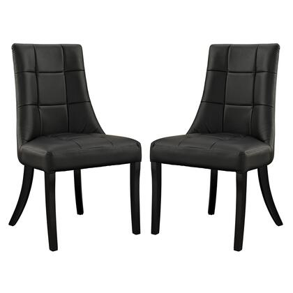 Modway EEI-1298 Noblesse Vinyl Dining Chair Set of 2 with Modern Design, Durable Parawood Legs, Dense Foam Padding, Non-Marking Feet Pads and Faux Leather Upholstery