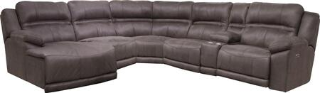 Catnapper Braxton Collection 62152-4-8-5-9-7- 6-Piece Sectional with Left Arm Facing Chaise, Armless Chair, Wedge, Armless Recliner, Console and Right Arm Facing Power Recliner in