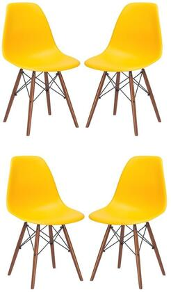 EdgeMod EM105WALYELX4 Vortex Series Modern Wood Frame Dining Room Chair