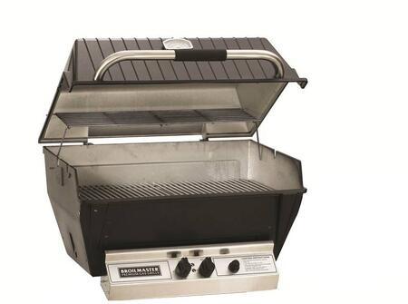 "Broilmaster H3xx 27"" Built-In Grill with 595 sq. in. Cooking Surface, 40000 BTU Total Output, 2 H-Style Burners, Warming Rack, and Aluminum Construction, in Black"