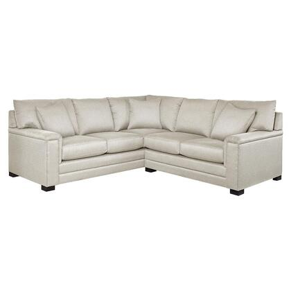 Bassett Furniture Hancock Collection 3935-LSECTFCS/FC163-X L-Shaped Sectional Sofa with Fabric Upholstery, Top Stitching, Pad Arms, Dramatic Base Border and Woodlegs with Walnut Finish in