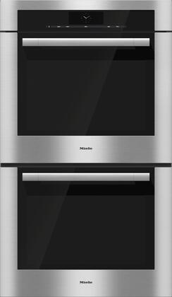 "Miele H6x80BP2 30"" Double Wall Oven with Convection, Self Clean, 19 Operating Modes, MasterChef Plus, M Touch Controls, and Wireless Roast Probe, in Clean Touch Steel with PureLine Handle"