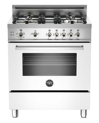 "Bertazzoni Professional PRO304GAS 30"" Gas Range with 4 Brass Burners, 18,000 BTUs Dual-ring Power Burner, Designer Metal Knobs, 3.6 cu. ft. Gas Convection Oven, Telescopic Glide Shelf"