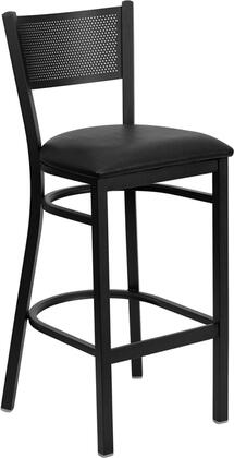 "Flash Furniture HERCULES Series XU-DG-60116-GRD-BAR-XXV-GG 30.25"" Heavy Duty Grid Back Metal Restaurant Bar Stool with 18 Gauge Steel Frame, Commercial Design, Foot Rest Rung, and Plastic Floor Glides"