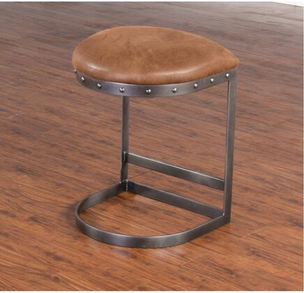 Sunny Designs Tahoe Collection 1623B- Metal Stool with Cushion Seat, Stretcher and Metal Button Accents in Black