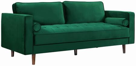 "Meridian Emily collection 625S-X 85"" Sofa with Velvet, Deep Tufted Cushion and Wooden Legs"