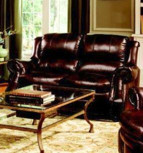 Novo Home 90002S Hampton Series Leather Stationary with Wood Frame Loveseat