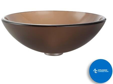 "Kraus GV103FRX Singletone Series 17"" Round Vessel Sink with 12-mm Tempered Frosted Brown Glass Construction, Easy-to-Clean Polished Surface, and Included Pop-Up Drain with Mounting Ring"