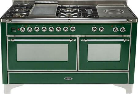 Ilve UMT150FMPVS Majestic Techno Series Dual Fuel Freestanding Range with Sealed Burner Cooktop, 3.55 cu. ft. Primary Oven Capacity, Warming in Emerald Green
