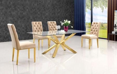 Meridian MER5PCRECDH4BEKIT1 Capri Dining Room Sets