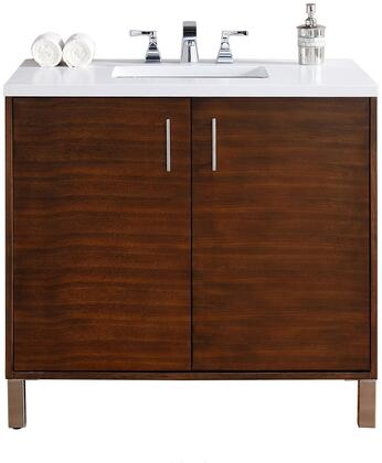 "James Martin Metropolitan Collection 850-V36-AWT- 36"" American Walnut Single Vanity with Two Soft Close Doors, Chrome Hardware and"