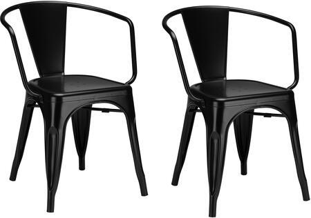 EdgeMod EM113BLKX2 Trattoria Series Modern Metal Frame Dining Room Chair