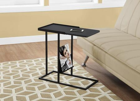 "Monarch I309X 24"" Accent Table with Tapered Sleek Lines, Sturdy Metal Legs and Magazine Rack"