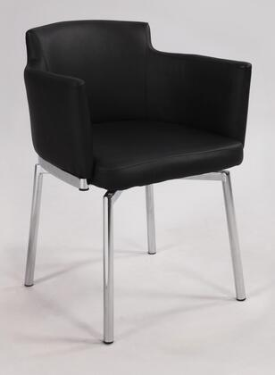 Chintaly Dusty DUSTYACKD Club Style Swivel Arm Chair Made with Metal, Leatherette Upholstered Back and Seat Finish in