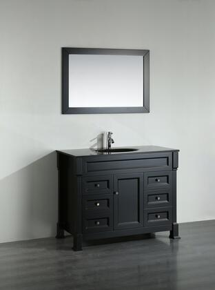 "Bosconi Bosconi 43"" SB-278B Single Vanity with 1 Door, 6 Drawers, 1 Sink Included, Wall Mounted Mirror, Antique Bronze Hardware and Birch Solid Wood Frame in Black Color"