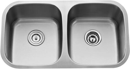 """Kraus KBU22KPF1612KSD30 Premier Series 33"""" Undermount 50/50 Double-Bowl Kitchen Sink with Stainless Steel Construction, Sound Insulation, and Included Pull-Down Kitchen Faucet"""