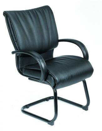 "Boss B9709X 40"" Mid Back Executive Chair with Dacron Filled Cushions, and Sled Base in Black LeatherPlus Upholstery"