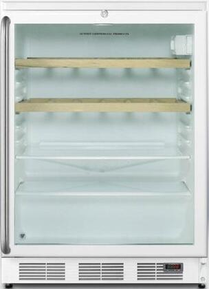 Summit SCR600LPUBSHWOx  Beverage Center with 5.5 cu. ft. Capacity, Commercially Approved, Stainless Steel Cabinet, Digital Thermometer, Automatic Defrost, Adjustable Glass Shelves, Door Lock, Interior Light and CFC Free, in White
