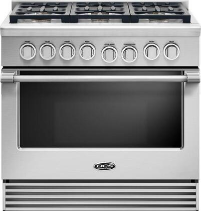 "DCS RGV2366 36"" Gas Range with 6 Sealed Dual Flow Burners, 5.3 Cu. Ft. Oven Capacity, Convection Bake, and Flat Vent Trim: Stainless Steel"