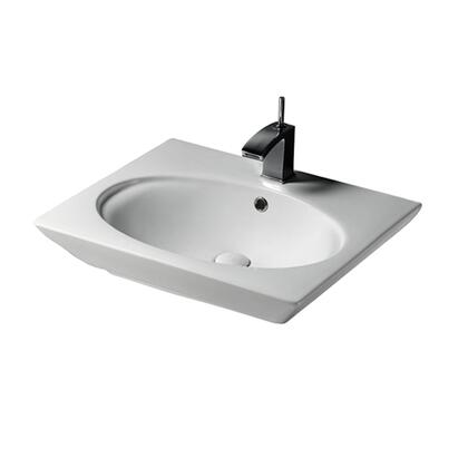 """Barclay B/3-37WH Opulence Basin Only, with Oval Interior, Pre-drilled Faucet Holes, Overflow, 4.5"""" Basin Depth, and Fine Fireclay Construction, in White"""