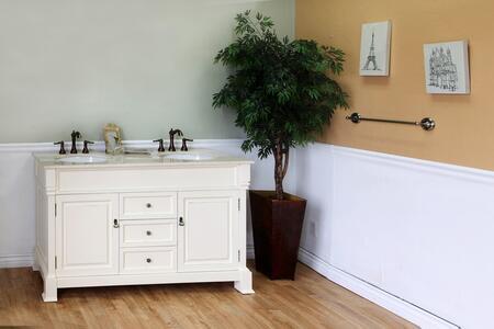 "Bellaterra Home 205060-S- 60"" Single Sink Bathroom Vanity, with Wood Cabinet, Ceramic Sink, and Marble Top"