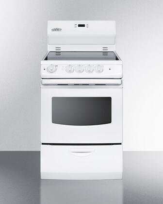 "Summit REX242W 24"" Electric Freestanding Range with Smoothtop Cooktop, 3.0 cu. ft. Primary Oven Capacity, Storage in White"