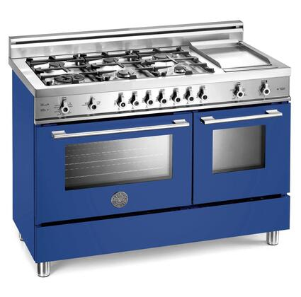 Bertazzoni X486GGGVBLLP Professional Series Gas Freestanding Range with Sealed Burner Cooktop, 2.9 cu. ft. Primary Oven Capacity, Storage in Blue