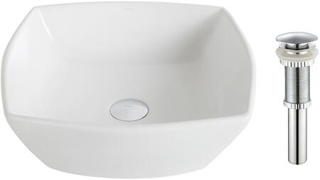 "Kraus KCV126X Elavo Series 17"" Flared Square Countertop Bathroom Basin Sink with Overflow, High-Gloss Finish, and Included Pop-Up Drain"