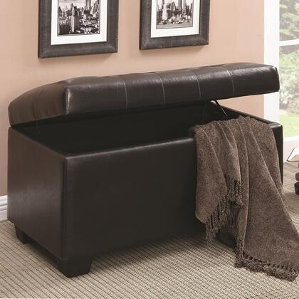 Coaster 50094x Ottomans Storage Ottoman with Leather-Like Vinyl Upholstery, Wooden Legs and Button-Tufted Seating in