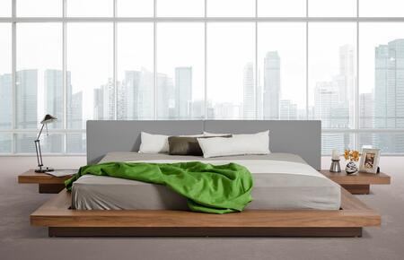 VIG Furniture VGKCHB39-WAL-GRY Modrest Opal Modern Low Profile Walnut and Grey Leatherette Platform Bed