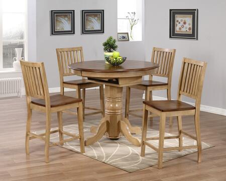 Sunset Trading DLUBR4260CBB60PW5PC Brook Dining Room Sets