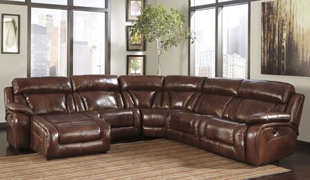 Signature Design by Ashley Elemen U99201SEC5L/R 5-Piece Sectional Sofa with X Arm Press Back Power Chaise, Armless Recliner, Wedge, Armless Chair and X Arm Zero Wall Power Recliner in Harness
