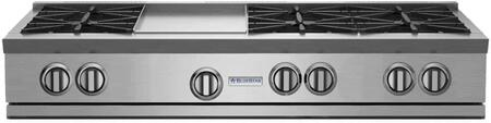 "BlueStar RGTNB Series RGTNB486GV1 48"" Pro-Style Gas Rangetop With 6 Open Burners, 22,000 BTU Power Burners, Simmer Burner, 12"" Griddle, Single Point Spark Ignition, In Stainless Steel"