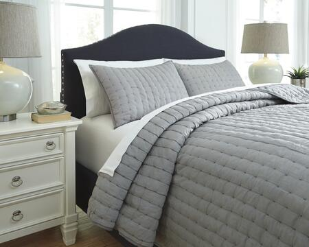 Signature Design by Ashley Teague Q748003 3 PC Size Comforter Set includes 1 Comforter and 2 Standard Shams with Hand Quilted Design, 200 Thread Count and Cotton Material in Grey Color