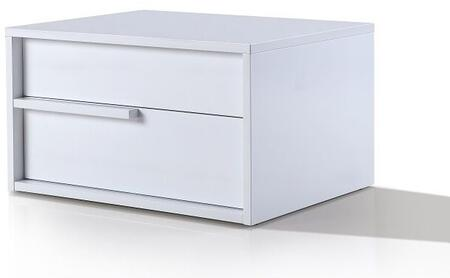 """Casabianca Dolce Collection 25"""" Nightstand with 2 Drawers, Hand Facing Handle, Medium-Density Fiberboard (MDF) and High Gloss Lacquer in White Finish"""
