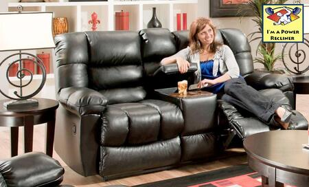 Chelsea Home Furniture 1855024801PWR New Era Black Reclining with Wood Frame Loveseat